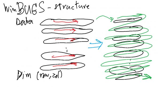 เรื่องปวดหัว R structure vs WinBUGS structure